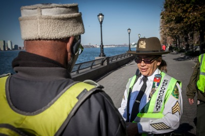 """We keep the community safe,"" says Annettee Probst, a Parks Patrol Enforcement Officer, who works at Battery Park"