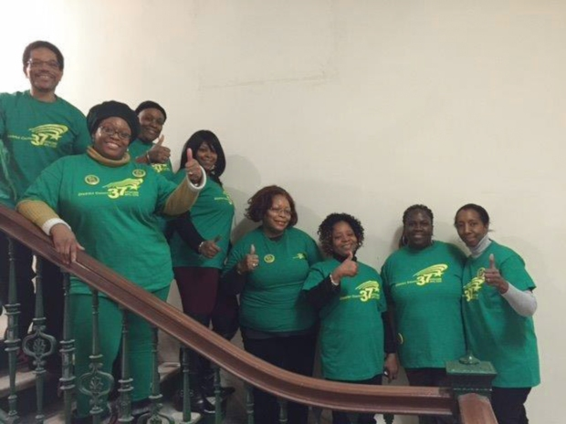 "DC 37 members show their solidarity during the union's citywide ""Union and Proud"" day of action coinciding with Friedrichs v. California Teachers Association on Jan. 11."