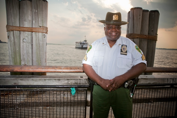 Sgt. Sam Hendricks, a Parks Enforcement Patrol Officer, evacuated people from Battery Park City during the World Trade Center attacks and during superstorms Irene and Sandy. (Photo by Clarence Elie-Rivera)