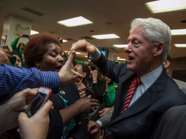 Former President Bill Clinton arrived at DC 37 headquarters on March 31 in support of Hillary Clinton's campaign for president.