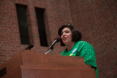 Costodial Assistant Roxana Galindez speaks at a forum at the Community Church of New York, where demonstrators went after they participated at a rally across the street from Gov. Andrew Cuomo's Manhattan office to demand fair funding for the City University of New York and new contracts for itrs employees. Photo by Mike Lee.