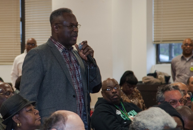 DC 37 Political Action Committee Chair and Local 1359 President Dennis Ifill announces the recommendation support Hillary Rodham Clinton for President to DC 37 delegates at a meeting on March 29.