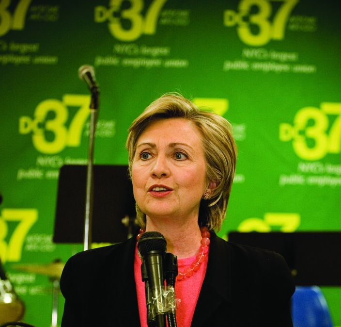 Hillary Clinton at a DC 37 event. Photo by Clarence Elie-Rivera