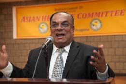 DC 37 Treasurer and Local 1407 President Maf Misbah Uddin speaks at DC 37's Asian Heritage event on May 20.