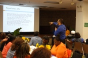 DC 37 Council Rep Raul Rodriguez leads a training session for Local 372 members.
