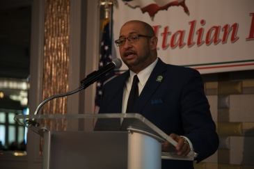 iDC 37 Executive Director Henry Garridospeaks at the Italian Heritage celebration. Photo: Mike Lee